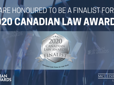 McLeish Orlando Selected as Finalist for Ontario Law Firm of the Year in the Canadian Law Awards 2020