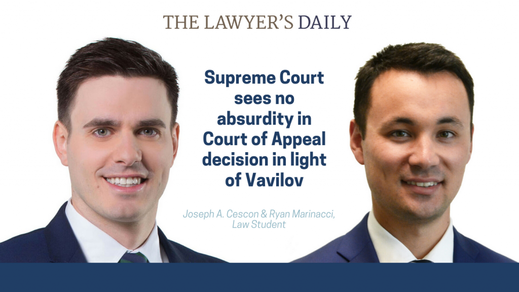 The Lawyer's Daily – Supreme Court sees no absurdity in Court of Appeal decision in light of Vavilov | McLeish Orlando Personal Injury Lawyers Toronto