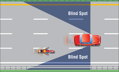 Avoid riding too close to motorists or riding in their blind spots.